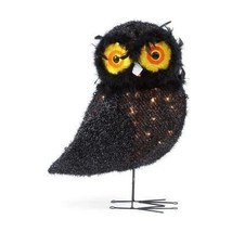 24 Inch 50 Light Halloween Black Tinsel Owl - $29.22