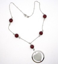 925 Silver Necklace, Carnelian Faceted Heart Sloped Pendant image 2
