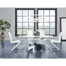 Global Furniture D987DT W/D9002WH Glass Top Table & White PU Chair Dining Set 5