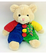 "Baby Ganz Teddy Bear Clown Primary Plush Red Green Yellow Rattle 14"" 1999 - $38.69"