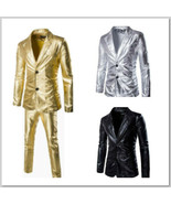Men's Metallic Silver or Gold Suit Pants Jacket Elvis Stagewear Show Cos... - $20.24