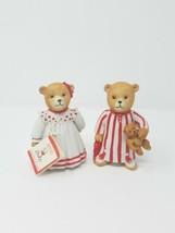 Vtg Schmid 1984 bears in pajamas PJ's figurine porcelain collectible set of 2 - $28.71