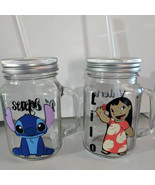 Personalized Lilo or Stitch 16oz Glass Mason Jar Mug with Lid & Straw Cu... - $16.99