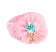 Elegant Pink Rose Girl Headdress Lace Headband Baby Accessories