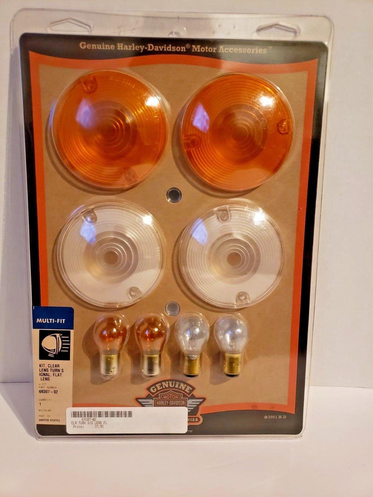 Genuine Harley Davidson Turn Signal Lens Kit Clear ,Flat 69307-02