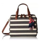 Fossil Rachel Satchel Black Stripe Handbag - MSRP $138 - £74.37 GBP