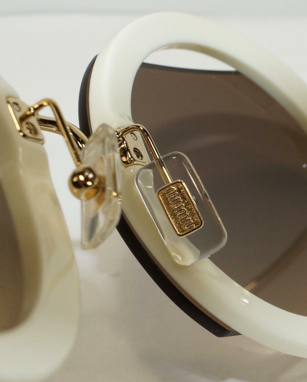 NEW Miu Miu SMU 06S VAG-4P0 Ivory Gold Brown Gray Sunglasses 63mm