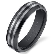 Unisex 6mm Black Striped Steel Ceramic Ring - $59.99