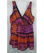 Rickis Purple Black + Orange V Neck Gathered Waist Sleeveless Tank Top S... - $19.79