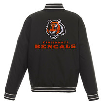 NFL Cincinnati Bengals Poly Twill Jacket Black  With Two Patch Logos  JH Design - $129.99
