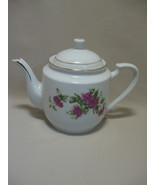 Tea Pot Leling China Light & Dark Pink Roses Green Leaves Gold Details 5... - $9.95