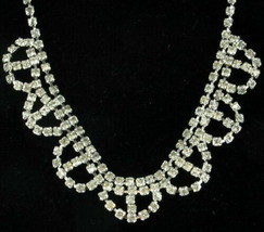 Vintage Crystal Rhinestone Mid Century Necklace and Clip Back Earrings 1... - $62.99