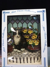 Ceramic cat with easel - $15.00