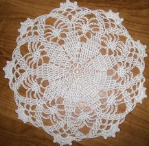 Hand Crocheted 9 Inch White Doily - $8.50