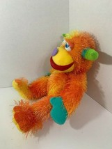 Aurora World Orange Zonk Monster Plush yellow shaggy heart nose green horns - $12.86