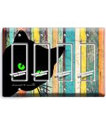 PEEKING BLACK CAT GREEN EYES RUSTIC WOOD 4 GFI LIGHT SWITCH WALL PLATE A... - $19.79