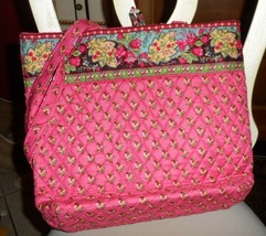 Vera Bradley button tote in retired Pink Pansy pattern - £23.03 GBP