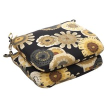 Pillow Perfect Indoor/Outdoor Black/Yellow Floral Seat Cushion Round, 2-... - £35.18 GBP