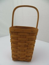 "Longaberger Basket w/ Plastic Liner 1994 Tall 13"" Top of Handle to Bottom - $23.61"