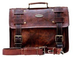 Goat Leather Vintage Handmade Leather Messenger Bag for accessories - $84.14