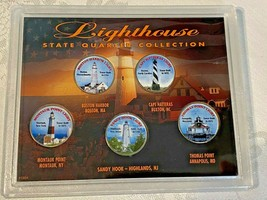 Lighthouse U.S. Statehood Colorized 5 Quarter Set In Acrylic Holder with... - $12.00