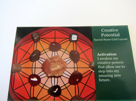 CREATIVE POTENTIAL Grid Card Healing Crystals QTY1 4x5inch Cardstock Vit... - $3.75