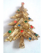 Vintage Christmas Tree Red Green Blue Clear Rhinestone Gold Tone Pin Brooch - $5.70