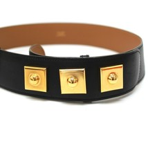 AUTHENTIC HERMES Studs belt Black/Gold Leather - $310.00
