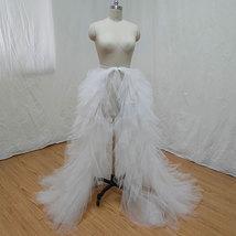 White Wedding Open Tiered Skirt Custom Plus Size Wedding Photo Tulle Skirt  image 1