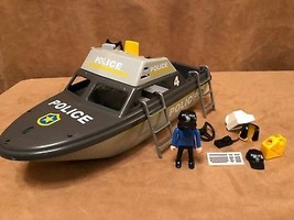 Playmobil 5786 Rescue Police Boat policewoman gray vintage  - $28.50