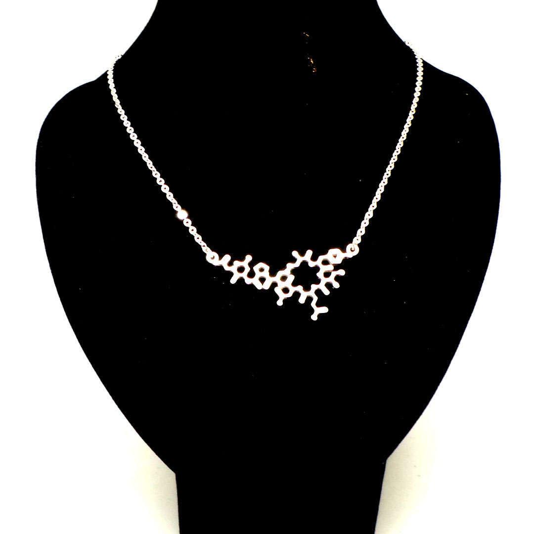 Silver Oxytocin Molecule Necklace Choker  image 2