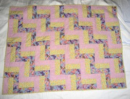 """Handmade Quilted Blanket Patchwork Lavender Yellow Butterfly Floral 34""""x45"""" - $7.35"""