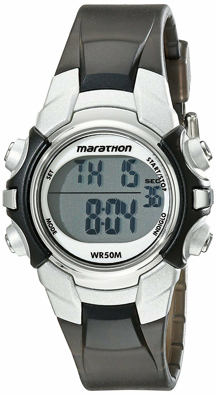Mujer Marathon Por Timex Negro Plata Digital Tamaño Medio Reloj T5K805M6 Nwot