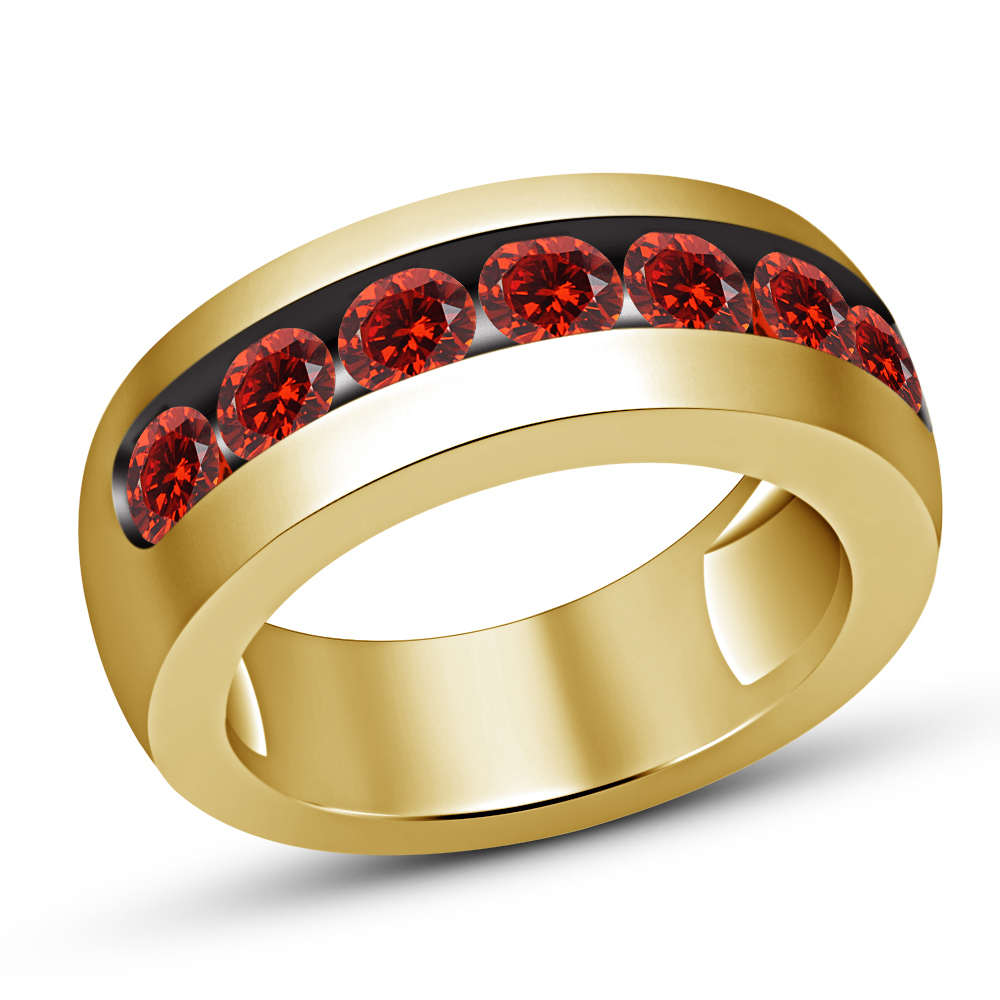 Primary image for Mens Yellow Gold Finish Red Garnet Engagement Designer Band Pinky Ring 8 9 10 11