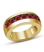 Mens Yellow Gold Finish Red Garnet Engagement Designer Band Pinky Ring 8... - £55.58 GBP