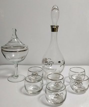 Glastonbury-Lotus 25th ANNIVERSARY 7 Pc DECANTER SET + Matching Footed C... - $17.81