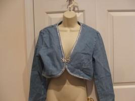 new in pkg frederick's of hollywood DENIM BOLERO jacket jr. small - $17.41