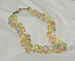 Monet Wisteria Lucite Pastel Bubble Beaded Runway Designer Necklace Hang Tag - $123.74