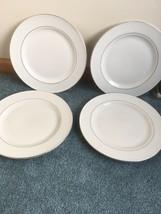 """4 Royal Norfolk Green Brier International Dinner Plates White Gold Rings 10 3/4"""" - $14.75"""