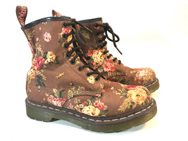 DR MARTENS 1460 brown floral canvas AIR WAIR boots 6 37EU FREE SHIPPING! - €107,02 EUR