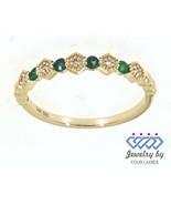 Smeraldo Rotondo Gemma 14K Oro Giallo 0.15CT Vero Diamante Naturale Fasc... - $627.63