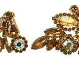 VINTAGE WEISS OPALESCENT AB STONES & TOPAZ RHINESTONE PIN EARRINGS SET