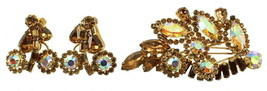 VINTAGE WEISS OPALESCENT AB STONES & TOPAZ RHINESTONE PIN EARRINGS SET - $99.99