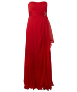 MIKAEL AGHAL Red Crushed Silk Evening Dress Size UK 14 BNWT **Very Rare** - $513.08