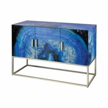 Blue Agate Glass Mid Century Style 3 Doors Modern Cabinet Buffet Sideboa... - $1,282.05