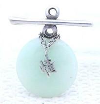 VTG .925 Sterling Silver Green Jade Jadeite Character Necklace Pendant - $74.25