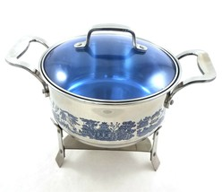 Blue Willow Round 3 Quart Chafing Dish Stainless Steel Cookware Kitchenware - $49.39