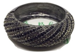 Hematite & pave inset crystals vintage magnetic clasp bangle clamper bra... - $19.00