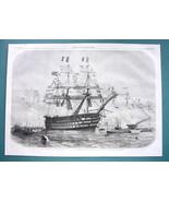1858 Woodcut Print - Cherbourg Queen Victoria Visits Napoleon Gunship Br... - $16.54