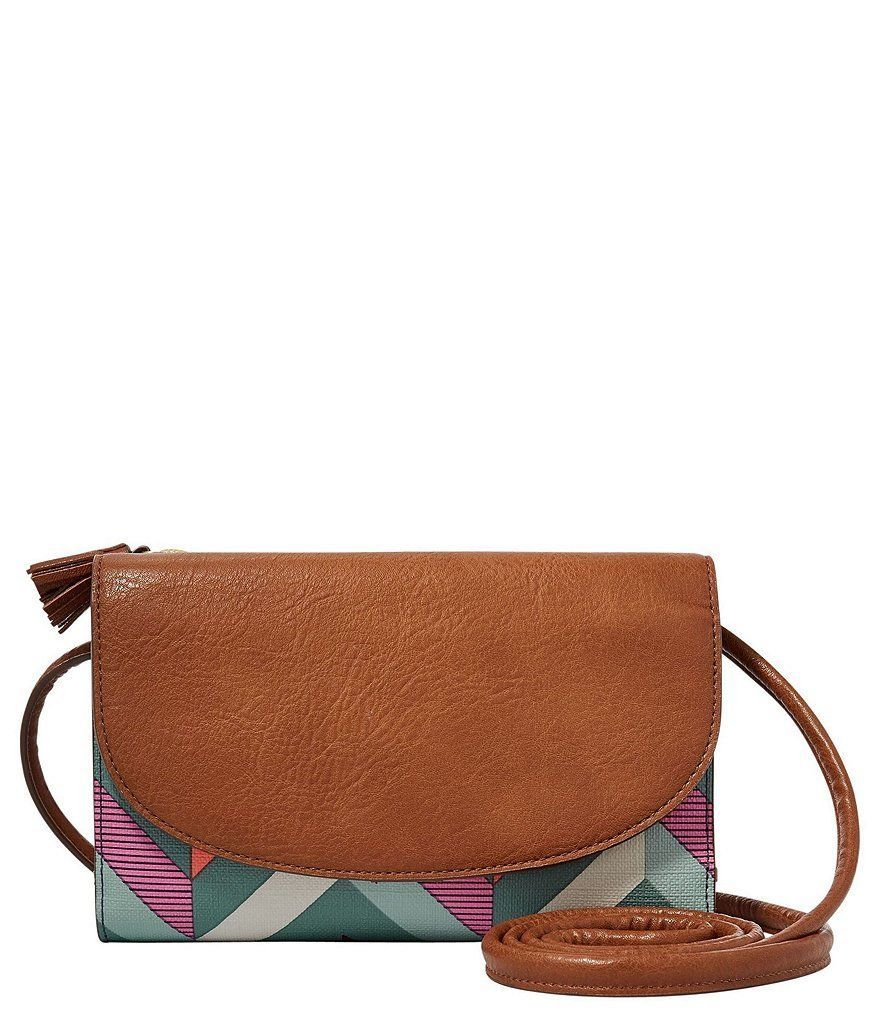 NEW FOSSIL SOPHIA SMARTPHONE CREDIT CARD & ID CROSSBODY WALLET CHEVRON BLUE